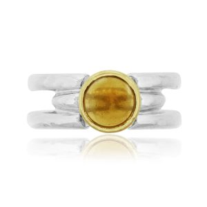 Movado 18k Yellow Gold & Sterling Silver Citrine Open Work Ring