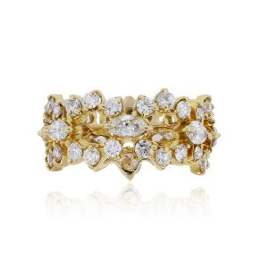 18k Yellow Gold 1.95ctw Round Brilliant and Marquise Diamond Eternity Band