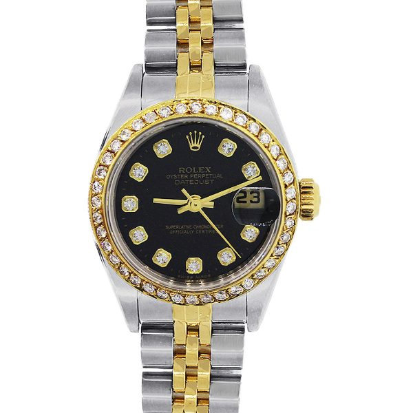 Rolex 179173 Datejust TT Black Diamond Dial & Bezel Ladies Watch