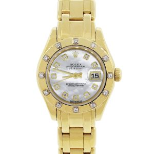 Rolex 80318 Pearlmaster Mother of Pearl Dial 18k Yellow Gold Watch
