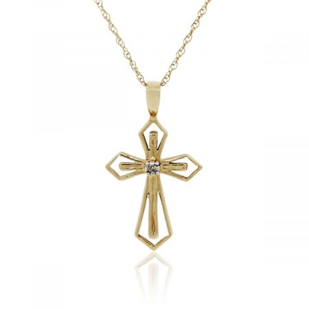 14k Yellow Gold Diamond Cross Pendant and Necklace