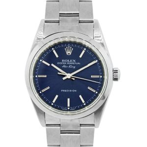 Rolex 14000 Airking Blue Stick Dial Stainless Steel Watch