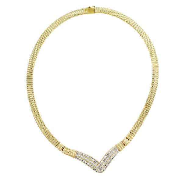 14k Yellow Gold 2.25ctw Diamond Omega V Necklace