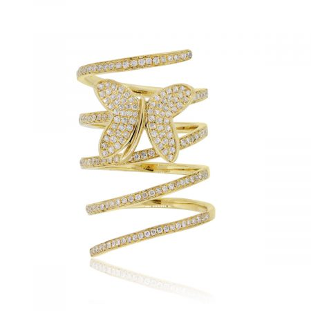 18k Yellow Gold 0.97ctw Diamond Spiral Butterfly Ring