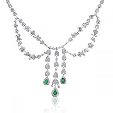 14k White Gold 1.50ctw Diamond and 1.2ctw Pear Emerald Necklace