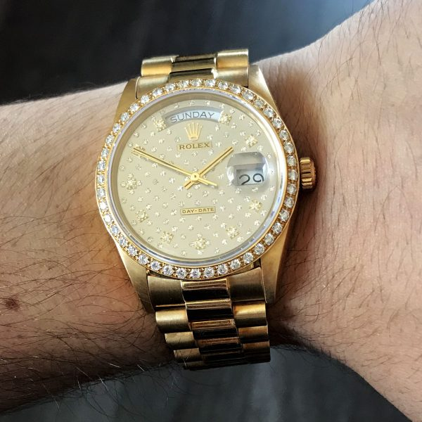 Rolex 18038 Day Date Presidential Pleade Diamond Dial 18k Yellow Gold Watch