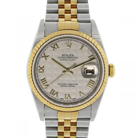 Rolex 16233 Datejust Pyramid Dial Two Tone Watch
