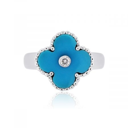 Van Cleef & Arpels 18k White Gold 0.06ct Diamond and Turquoise Alhambra Ring