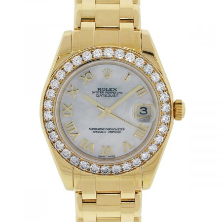 Rolex 81298 Datejust Masterpiece 18k Yellow Gold MOP Diamond Midsize Ladies Watch
