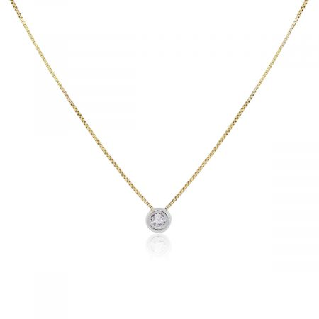 14k Yellow Gold and White Gold 0.30ct Diamond Pendant on Necklace