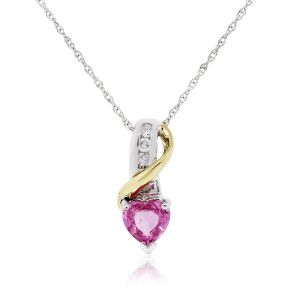 14k Two Tone Gold 0.05ctw Diamond and Pink Heart Stone Pendant With Necklace