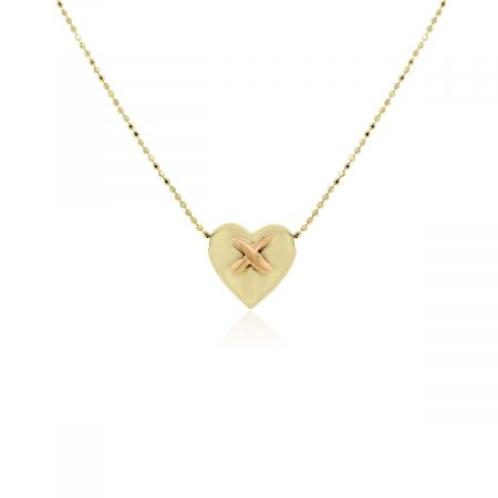 """14k Yellow Gold and Rose Gold """"X"""" On Heart Chain Necklace"""