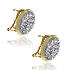 14k Yellow Gold 1.50ctw Round Diamond Cluster Style Earrings