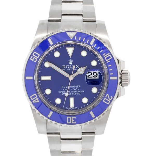 Rolex 116619LB Submariner 18k White Gold Blue Bezel and Dial Watch