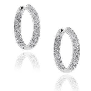 14k White Gold 0.72ctw Diamond Pave Inside Out Hoops