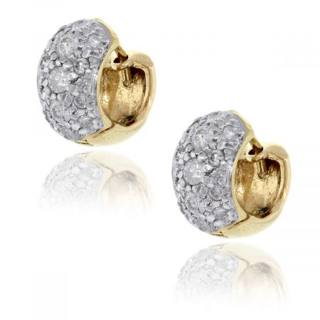 14k Yellow Gold 0.42ctw Diamond Pave Huggie Earrings
