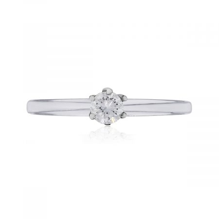 14k White Gold 0.10ct Round Brilliant Solitaire Diamond Engagement Ring