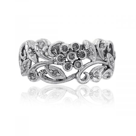 14k White Gold 0.20ctw Diamond Filigree Flower Ring