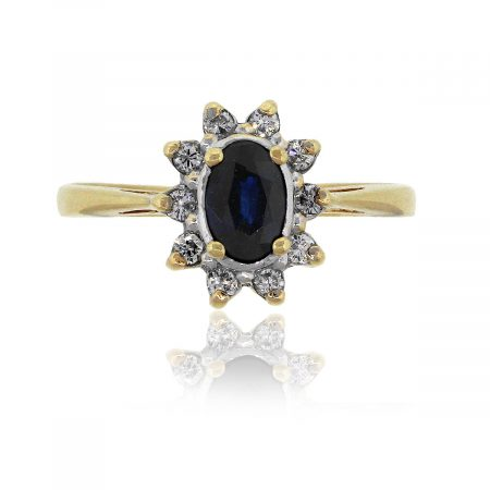 14k Yellow Gold 0.20ctw Diamond And Oval Sapphire Ring