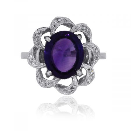 14k White Gold 0.20ctw Diamond & Amethyst Floral Ring