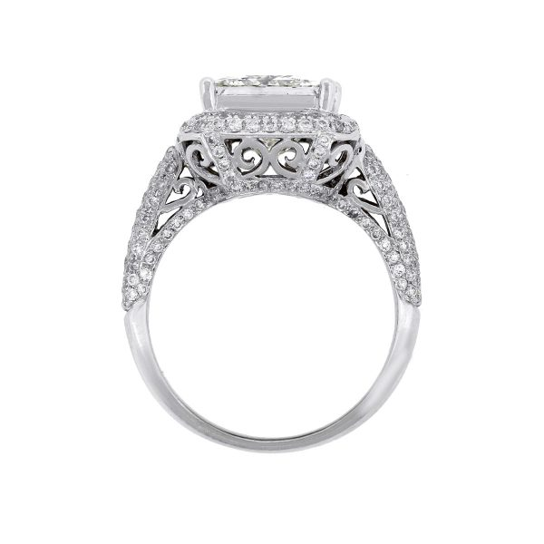 18k White Gold 3.37ct Princess Cut GIA Engagement Ring