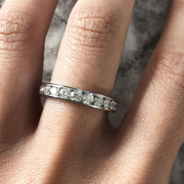 Tiffany & Co. Platinum Channel Set Diamond Eternity Band Ring