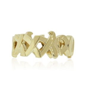 Tiffany & Co. 18k Yellow Gold Paloma Picasso Graffiti Love and Kisses Ring