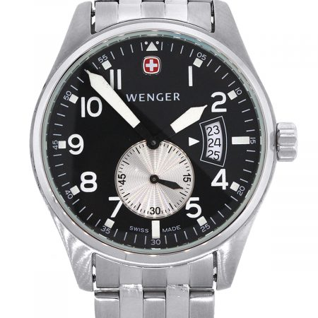 Wenger 7247X Stainless Steel Black Dial Mens Watch