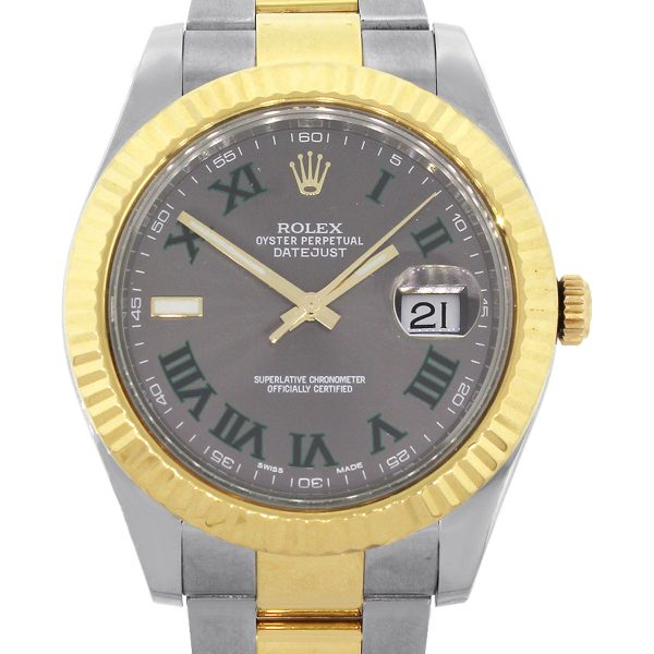 Rolex 116333 Datejust II Two Tone Gray And Green Dial Watch