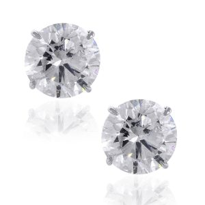 14k White Gold 15.17ctw Round Brilliant Diamond Stud Earrings