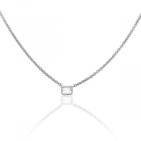 18k White Gold 0.50ctw Emerald Cut Bezel Set Diamond Necklace
