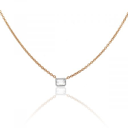 18k Rose Gold 0.70ctw Emerald Cut Bezel Set Diamond Necklace
