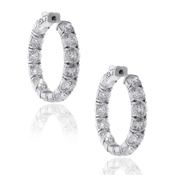 18k White Gold 13.56ctw Diamond Inside Out Hoops