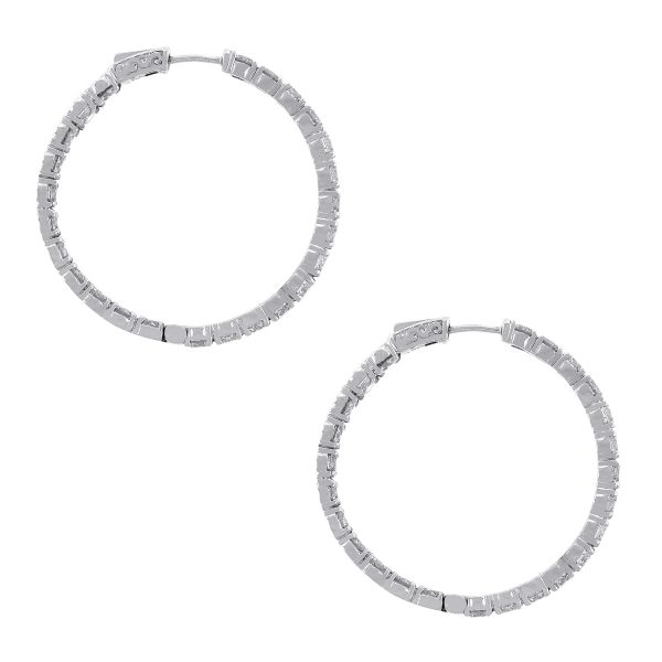 14k White Gold 9.76ctw Diamond Inside Out Hoops