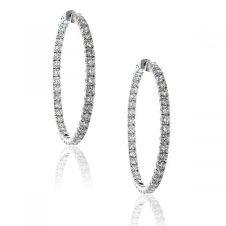 14k White Gold 9.01ctw Diamond Inside Out Hoops