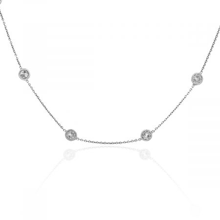 18k White Gold 4.60ctw Diamonds By The Yard Necklace