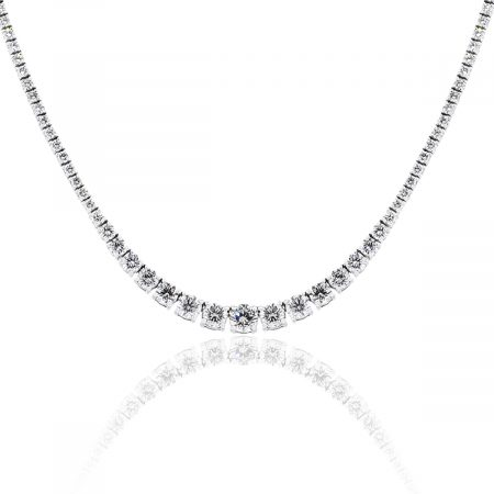 18k White Gold 7.06ctw Diamond Graduated Tennis Necklace