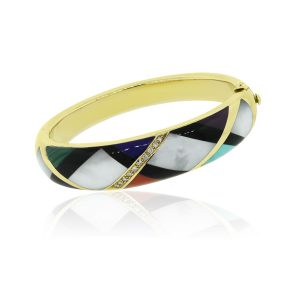 Asch Grossbardt 14k Yellow Gold Diamond and Multi Gemstone Bangle
