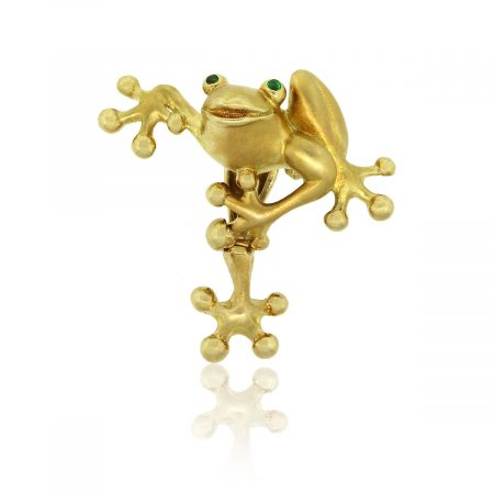 18k Yellow Gold Frog With Emerald Eyes Pin