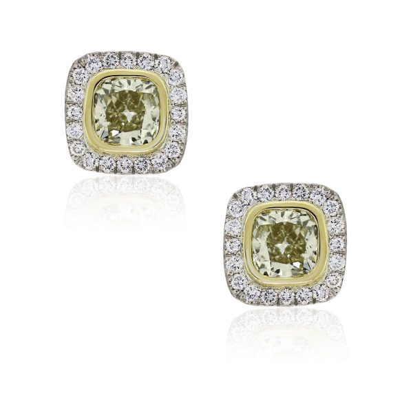 18k White Gold 4.62ctw Fancy Yellow and 0.85ctw White Diamond Earrings