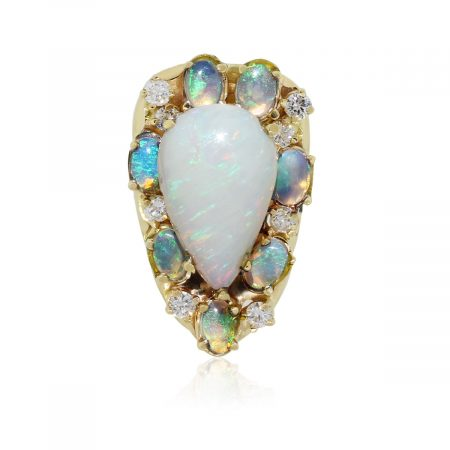 14k Yellow Gold Pear Shape Opal and 0.64ctw Diamond Ring