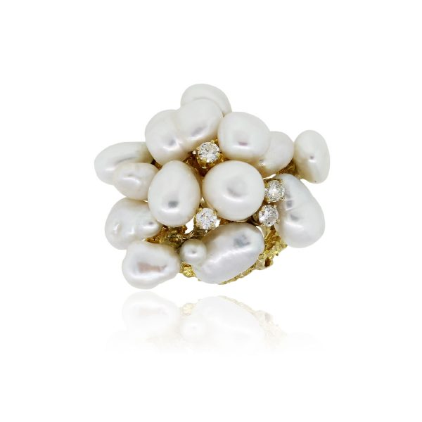 14k Yellow Gold Baroque Pearl and 0.40ctw Diamond Ring