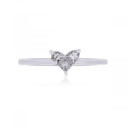 14k White Gold 0.29ctw Princess Cut Diamond Heart Shape Ring
