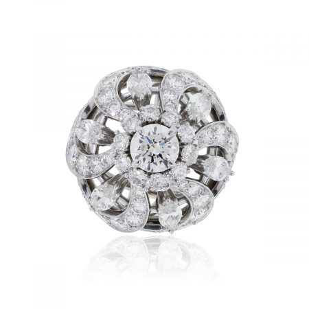 Platinum 4ctw Round Brilliant and Marquise Shape Cocktail Ring