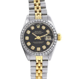 Rolex 6917 Datejust Two Tone Black Dial Ladies Watch