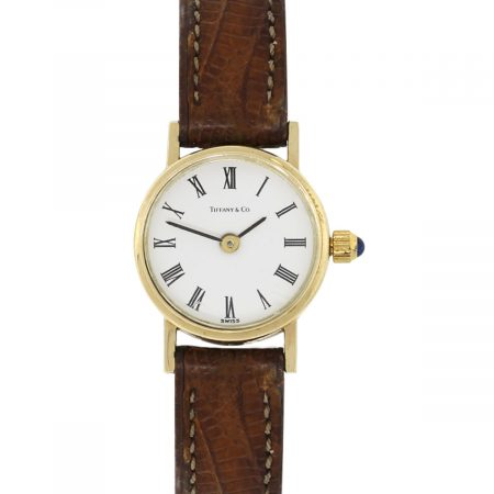 Tiffany & Co. 14k Yellow Gold White Dial on Brown Leather Ladies Watch