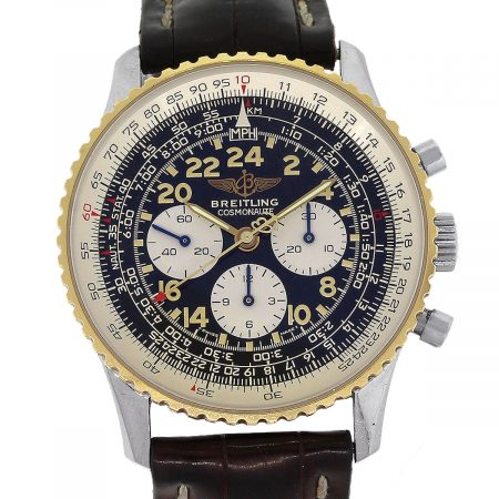 Breitling Cosmonaute D12322 Two Tone Black Dial Mens Watch