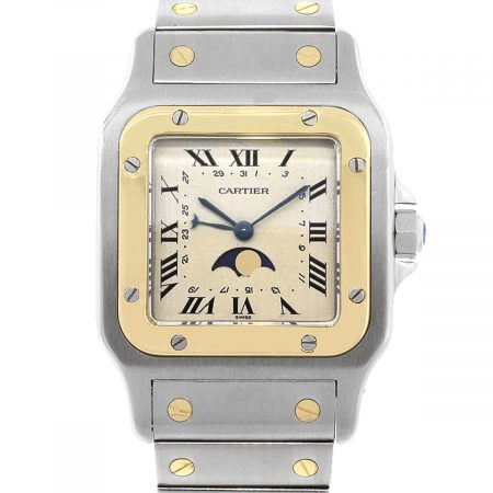 Cartier 819902 Santos Galbee Two Tone Moon Phase Ladies Watch