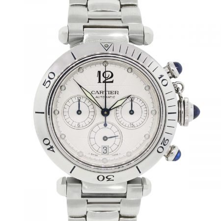 Cartier 2113 Pasha Stainless Steel White Chronograph Dial Watch