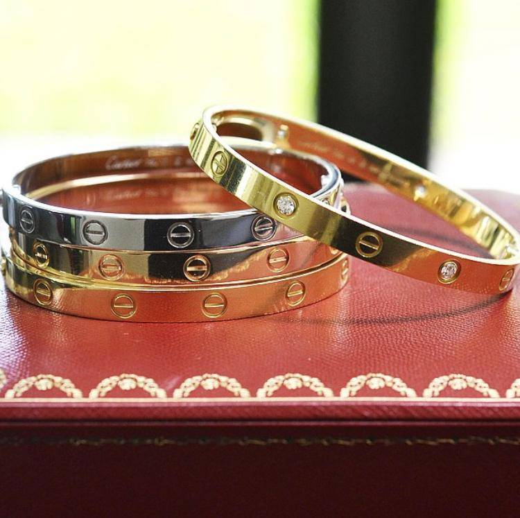 cartier love bracelets rose gold yellow gold white gold